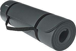 AmazonBasics Estera de yoga y ejercicio extra grueso de 1/2 pulgada con correa, negra