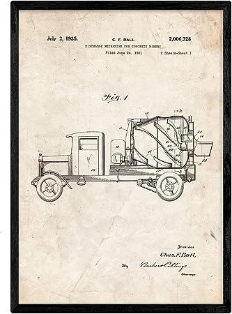 Nacnic Poster con Patente de Camion hormigonera. Lámina con diseño ...