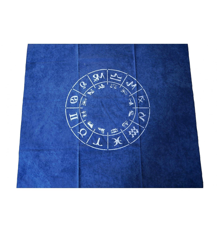 WLM Tapis de tirage de cartomancie Bleu Zodiac