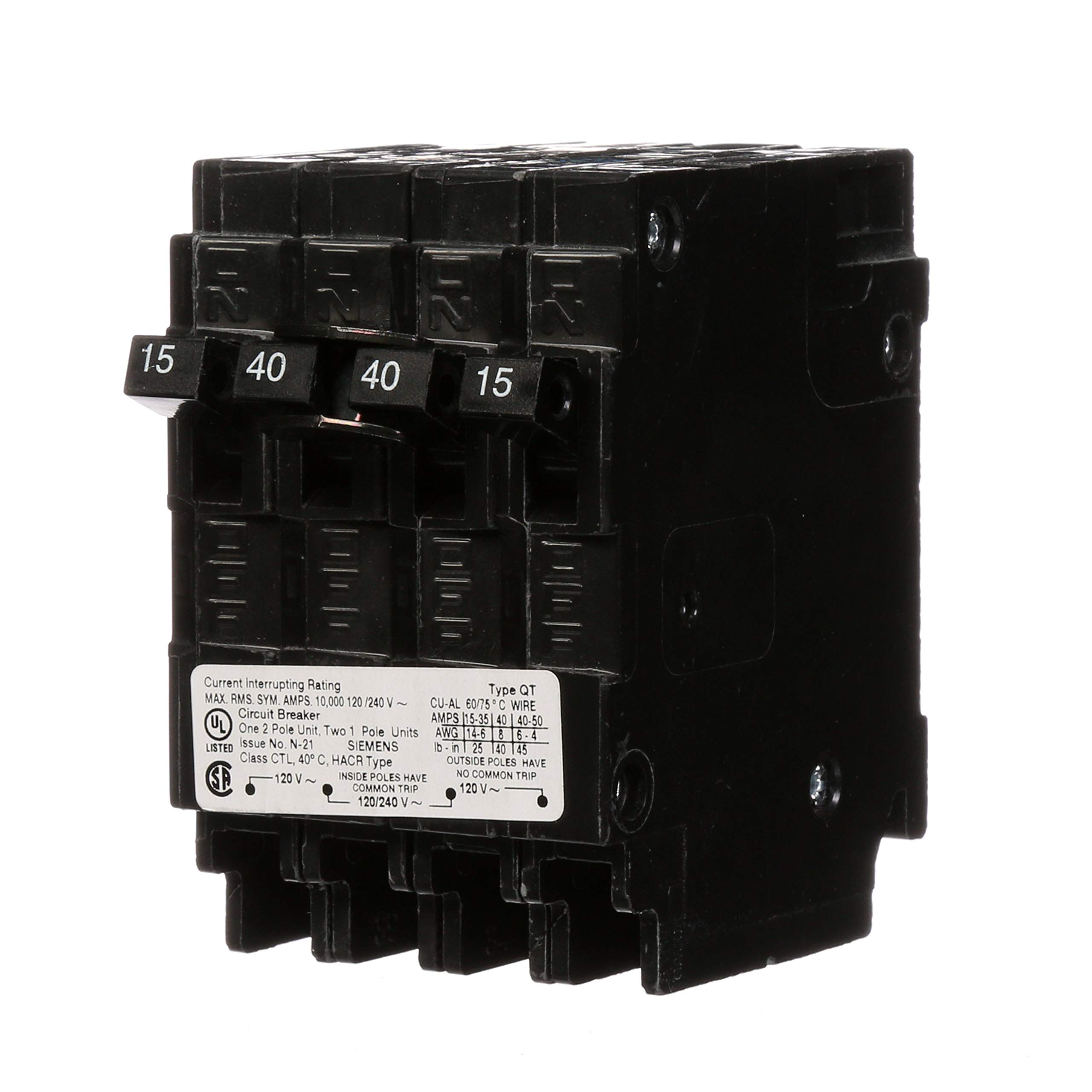 Siemens Q21540CT 40-Amp Double Pole Two 15-Amp Single Pole Circuit Breaker