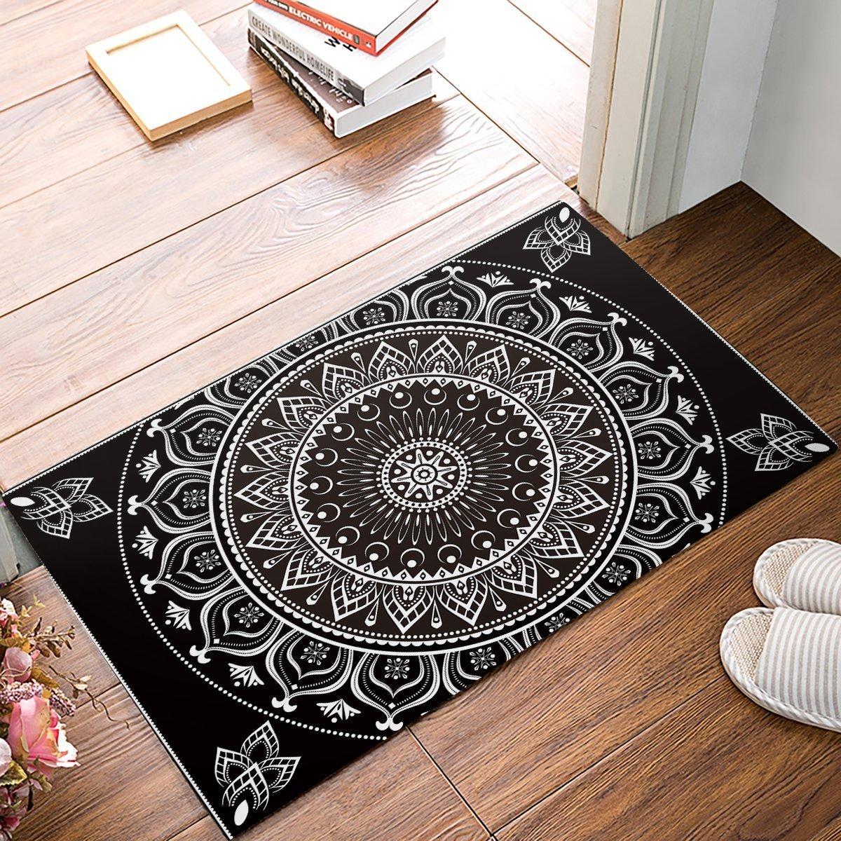 Infinidesign Welcome Doormat Kitchen Floor Bath Entrance Mat Rug Indoor//Front Door Thin Mats Rubber Non Slip 32x20 Antique Flowers Welcome