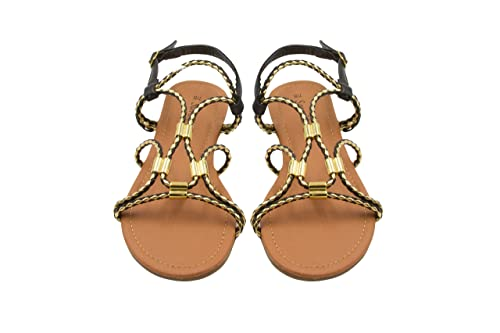 12636ac7e5c1 Sara Z Ladies Gladiator Sandal with Woven Metallic Straps and Metal Accents  11 Black Gold