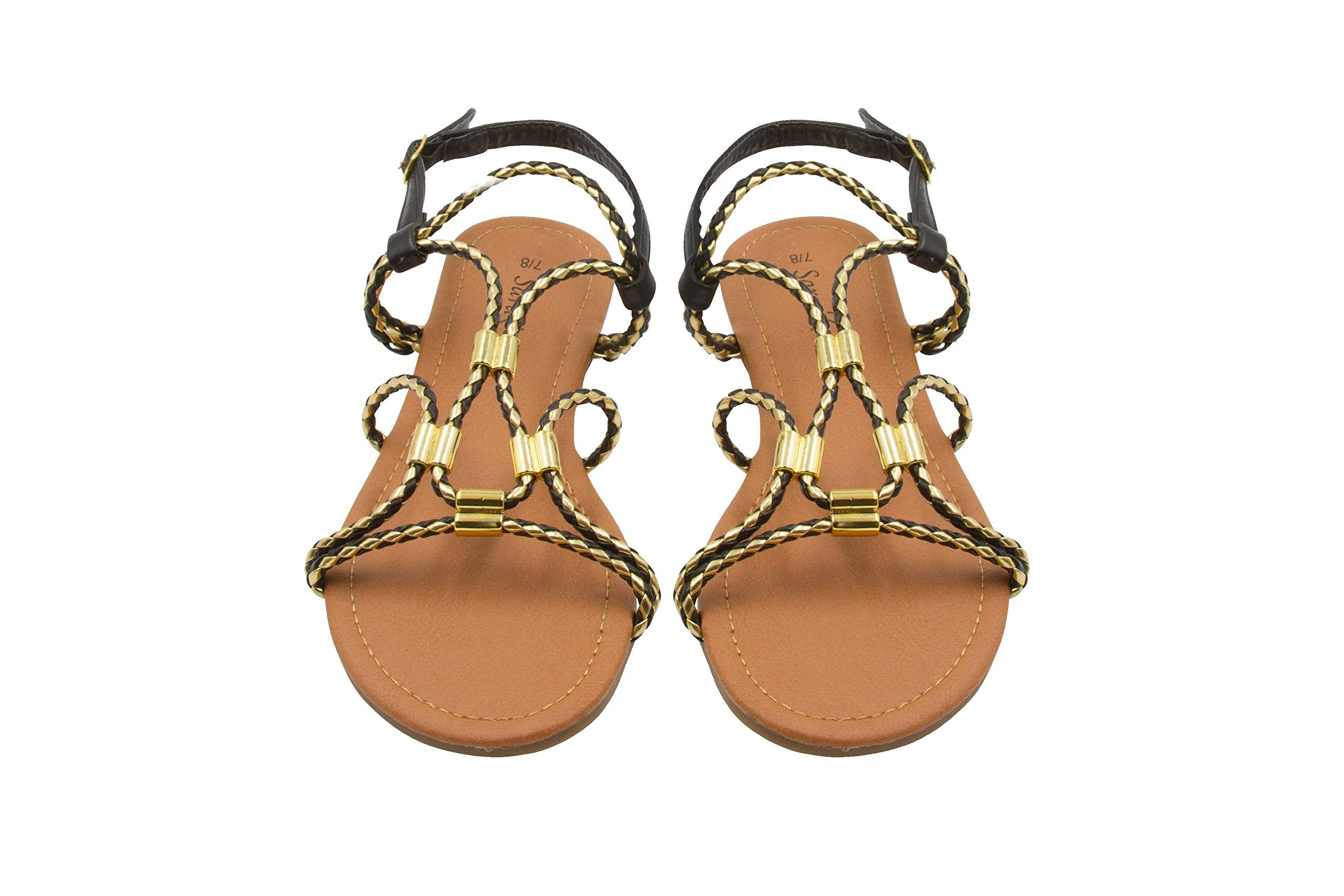 Sara Z Ladies Gladiator Sandal With Woven Metallic Straps and Metal Accents 5/6 Black/Gold