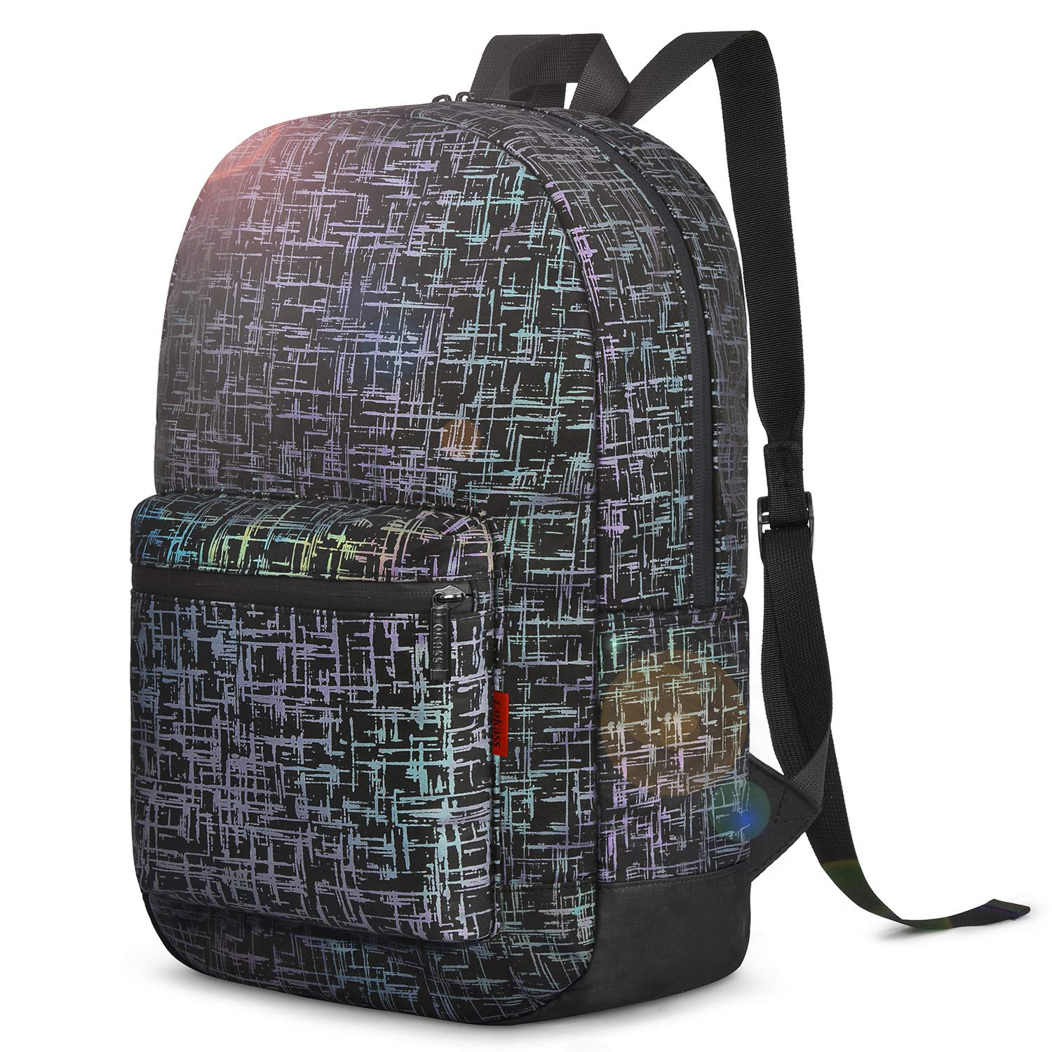 LOKASS Backpack Night Glowing Rainbow Hiking Backpack Lightweight Satchel Carry-On College Rucksack Bookbag for Women Wen Camping Cycling Commuting Travel Weekender,Reflective,Black