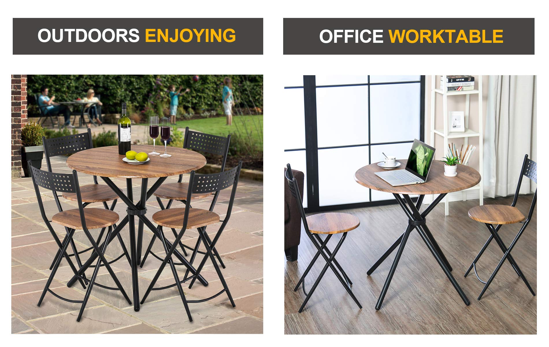 Homury 5pcs Dining Table Set Kitchen Table Kitchen Furniture Round Dining Table with 4 Round Dining Chair Dining Set Wood Coffee Table Set Home Office Table Set by Homury (Image #4)