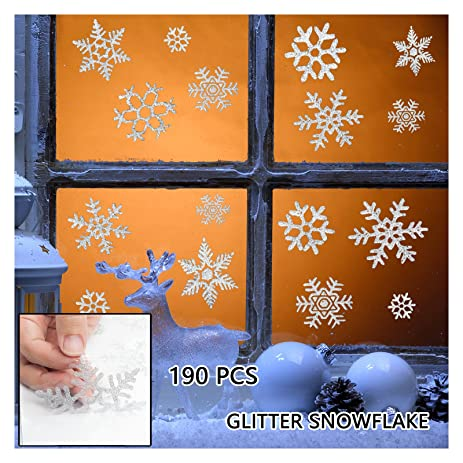Amazoncom Pcs Glitter Snowflake Window Clings Static Decal - Snowflake window stickers amazon