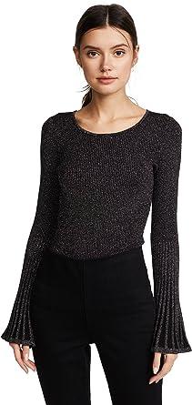 MILLY Womens Metallic Rib Flare Sleeve Sweater