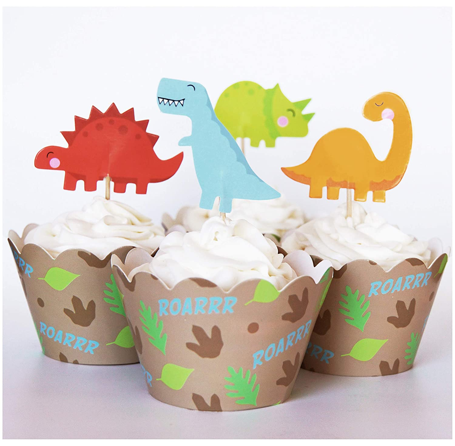 24 Dinosaur Cupcake Toppers + 24 Wrappers - Red Fox Tail SYNCHKG064332