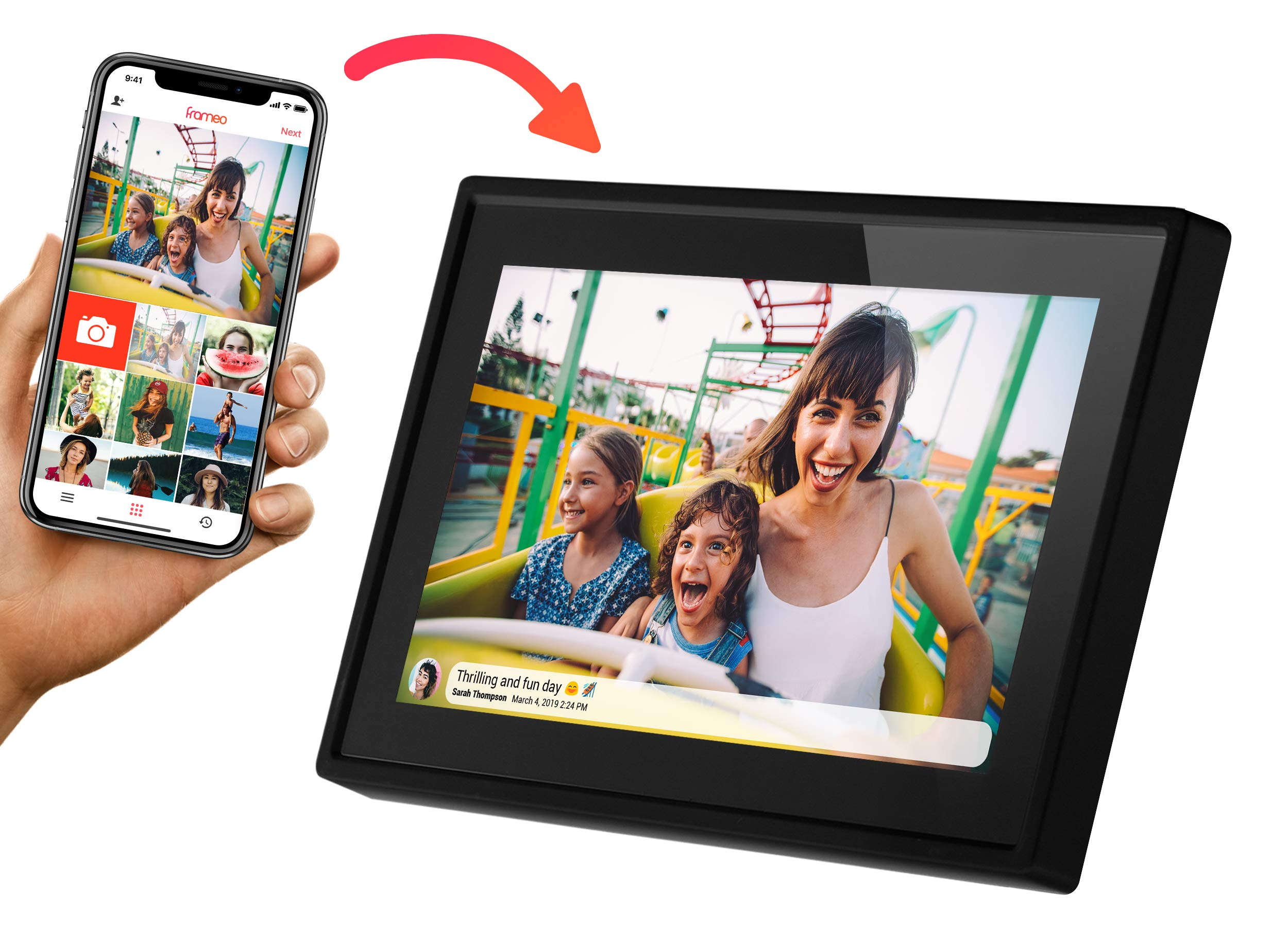Feelcare 10 Inch 16GB Smart WiFi Digital Picture Frame, Send Photos from Anywhere in The World, Touch Screen, 800x1280 IPS LCD Panel, Wall-Mountable, Portrait and Landscape(Black) by Feelcare (Image #2)
