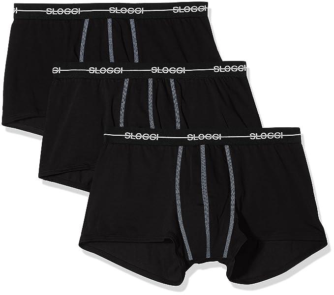 Sloggi Men/'s Underwear Black Boxer Brief 24//7 2-Pack Hipster Short Trunk
