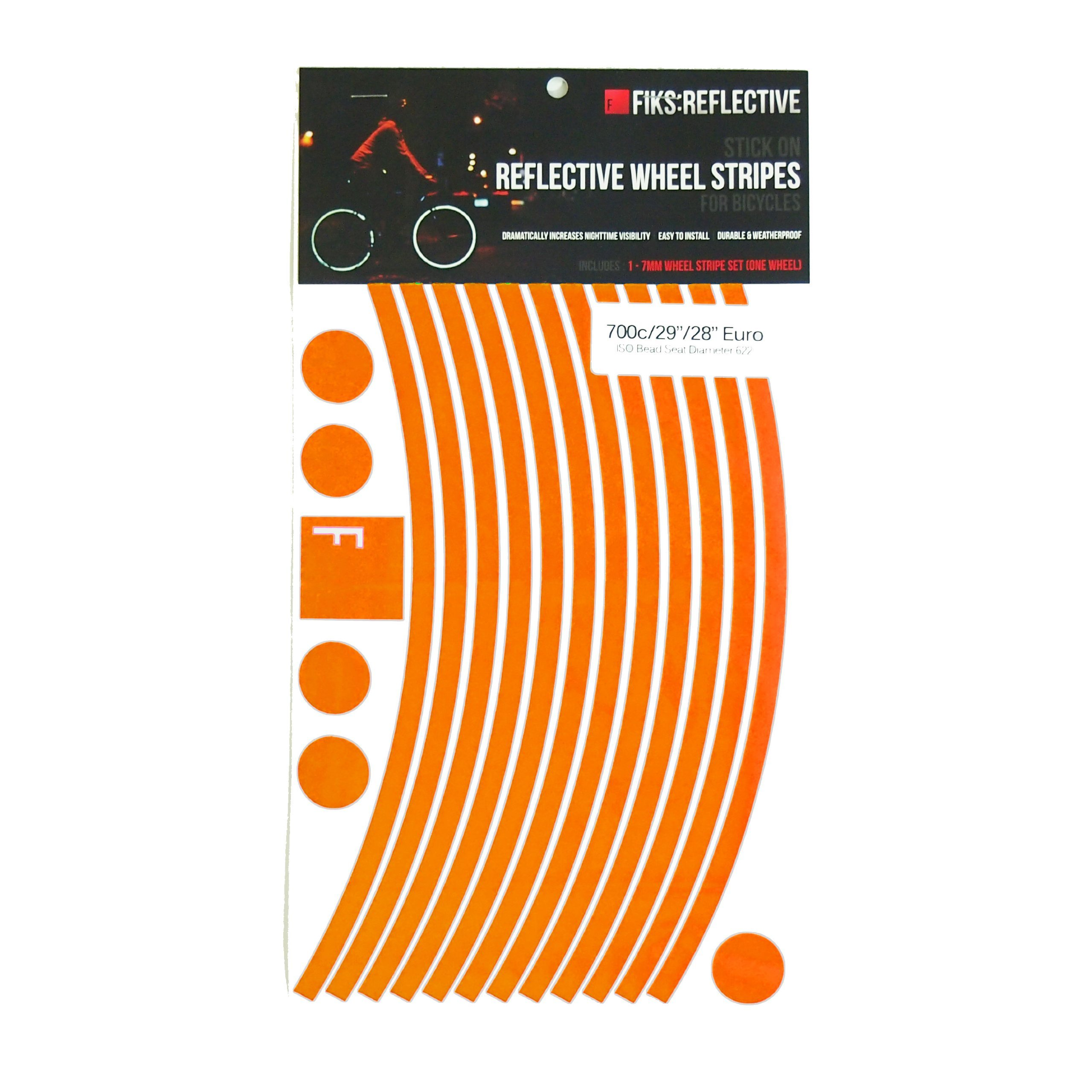 Reflective Stickers for Bicycle Wheels (Orange, 29in 14mm dish rims)