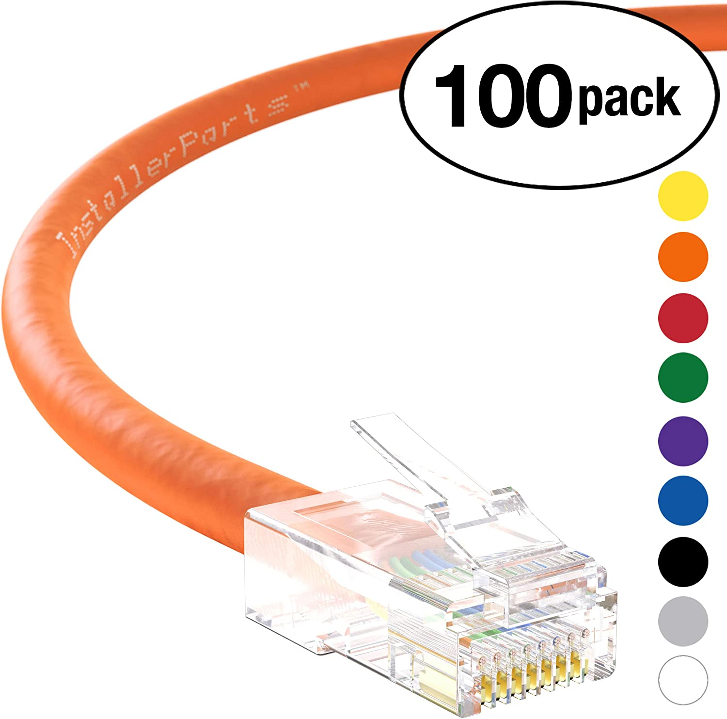 InstallerParts Professional Series 100 Pack 1Gigabit//Sec Network//Internet Cable Ethernet Cable CAT5E Cable UTP Non-Booted 0.5 FT 350MHZ Orange