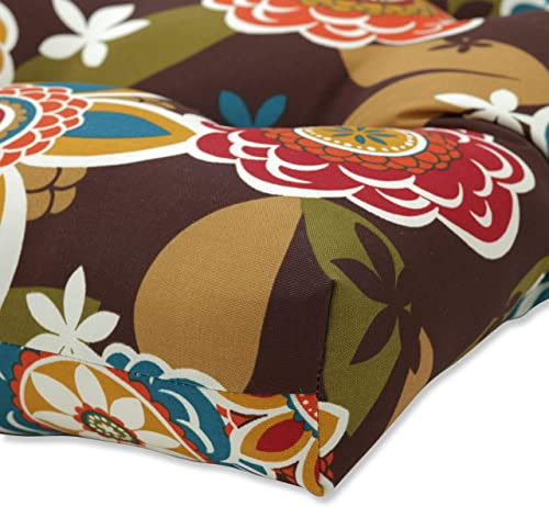 Pillow Perfect Outdoor/Indoor Annie Chocolate Tufted Bench/Swing Cushion