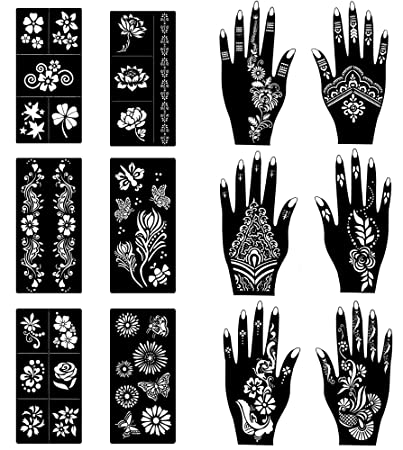 Amazon Com Cokohappy Stencils For Henna Tattoos 12 Sheets Self