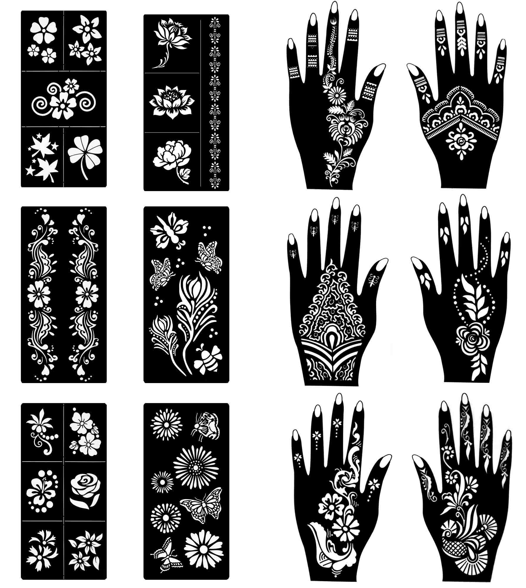 COKOHAPPY Stencils for Henna Tattoos (12 Sheets) Self-Adhesive Beautiful Body Art Temporary Tattoo Templates, Henna, Flower, Butterfly Designs