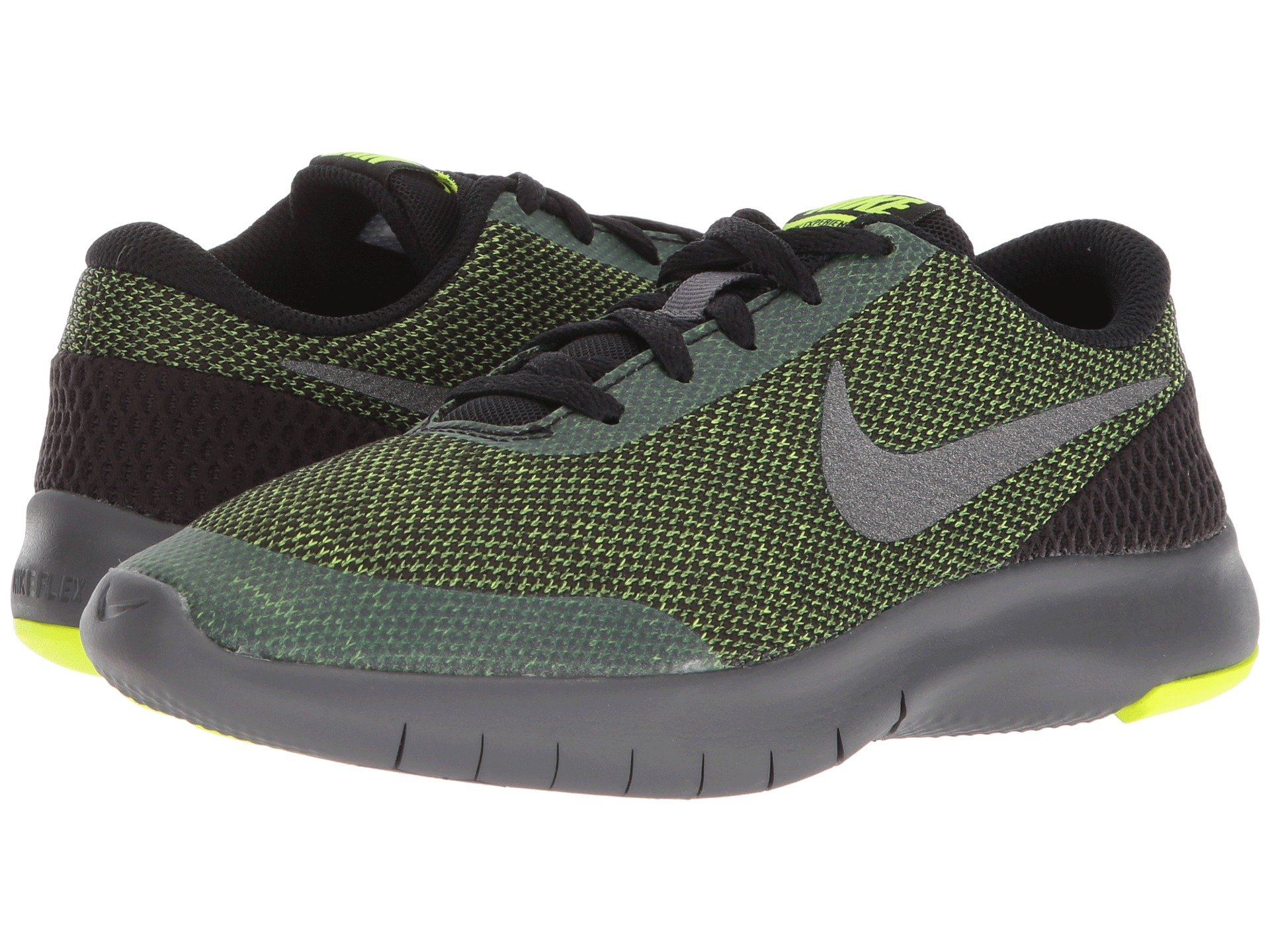 Nike Kids Flex Experience RN 7 (GS) Running Shoes (3.5 Big Kid M, Black/Metallic Dark Grey/Volt/Dark Grey) by Nike (Image #7)