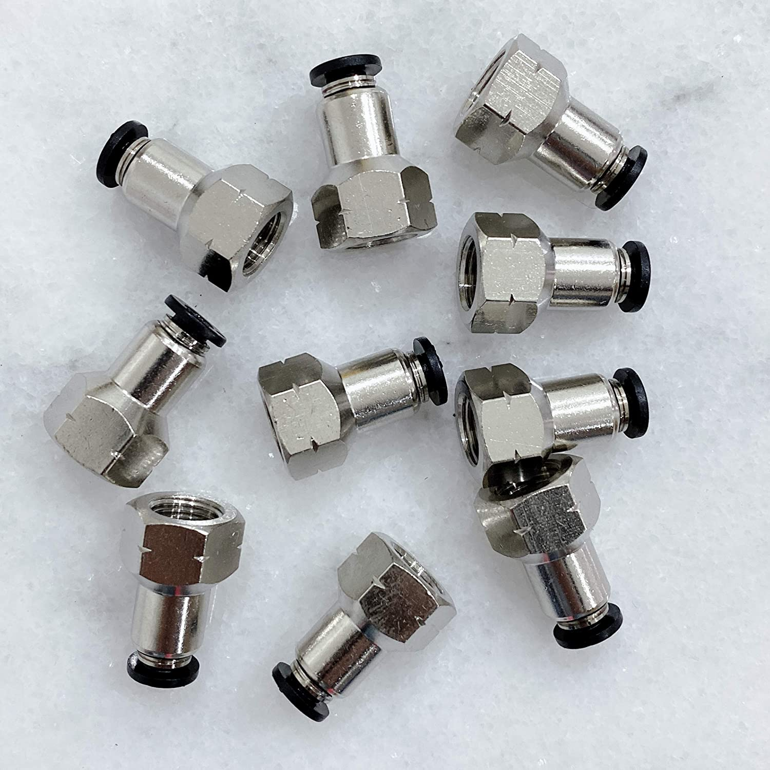 MacCan Pneumatic PCF1//2-N4 Female Straight 1//2 Tube OD x 1//2 NPT Thread Air Push to Connect Fittings Pack of 10