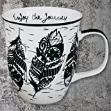 Karma Gifts Boho Black & White Mug, Feather