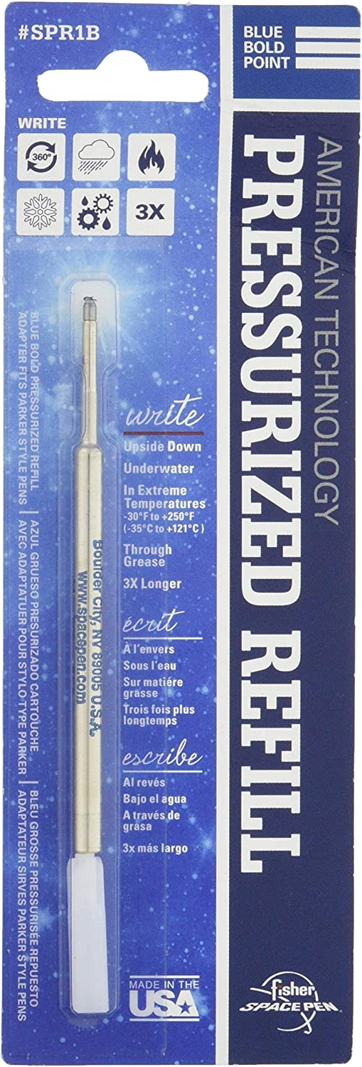 Fisher Space Pen 3 THREE BLUE bold point REFILLS SPR1B on blister card