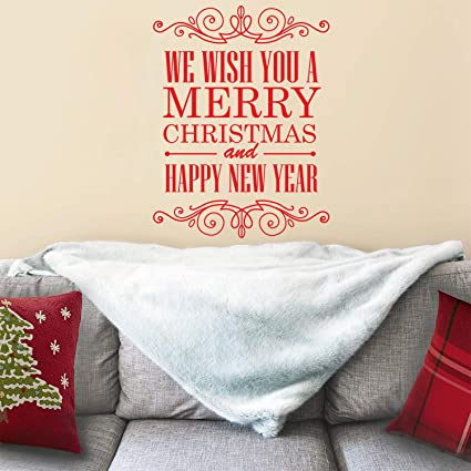 vinyl wall art decal we wish you a merry christmas and happy new year