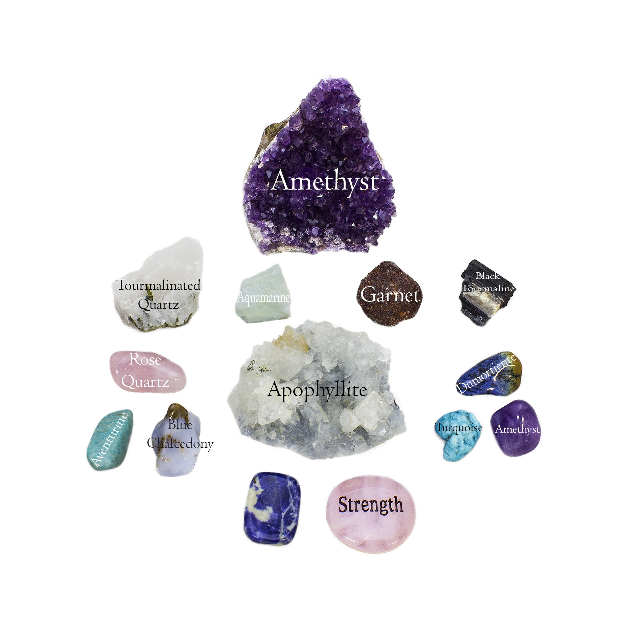 Anxiety and Worry Bundle 14pc Quality Handpicked Healing Crystals; Stones to Calm Stress, Reverse Negativity; For Meditation, Self-Worth, and Expression; All Natural Gems w/ Raw and Tumbled Finishes by RubyDubyDu