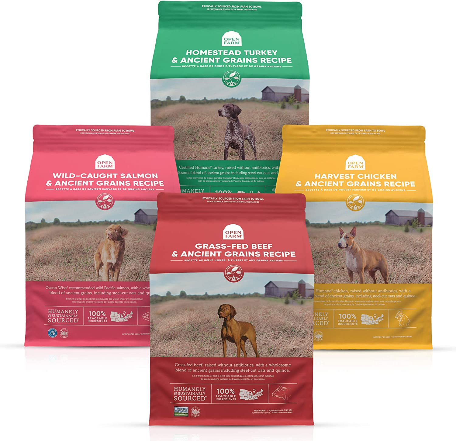 Open Farm Ancient Grains Dry Dog Food Bundle, Homestead Turkey, Harvest Chicken, Wild-Caught Salmon and Grass-Fed Beef, 4 Pack