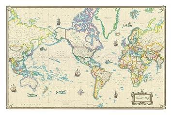 Amazoncom World Modern Day Antique Canvas Wall Map X Prints - 24x36 world map