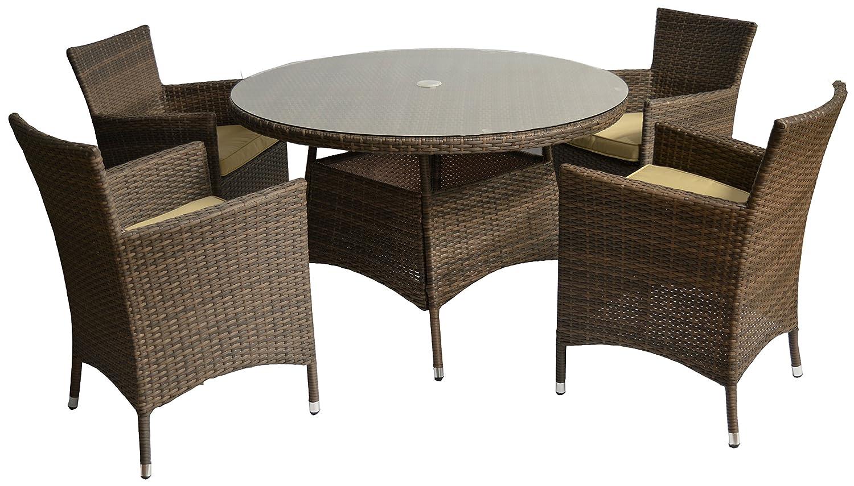 polywood rattan gartenm belgruppe sitzgruppe set 5 teilig in braun vier sessel ein tisch 120 cm. Black Bedroom Furniture Sets. Home Design Ideas