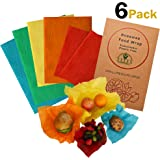 Beeswax Wrap - (6 Piece) (2 Small, 2 Medium, 2 Large) - Organic, Sustainable & Washable Plastic Free & Biodegradable