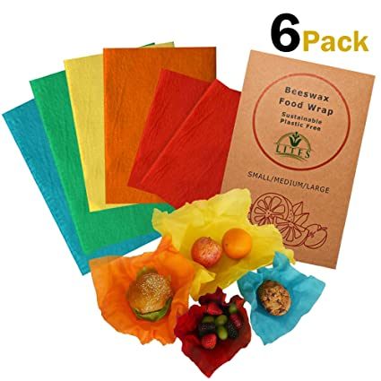 (6 PACK) BEESWAX WRAP - (2 Small, 2 Medium, 2 Large) - Organic, Sustainable  & Washable Plastic Free & Biodegradable