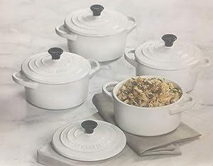 Le Creuset Set of 4 Stoneware Round Cocottes, White, 22 oz (2.75 Cups)