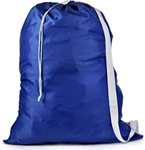 "Shoulder Strap Laundry Bag - Drawstring Locking Closure, Durable Nylon Material, Large Capacity, Heavy Duty Stitching, Hands Free Carrying, Perfect for Laundromat or College Dorm. (Blue | 30"" x 40"")"