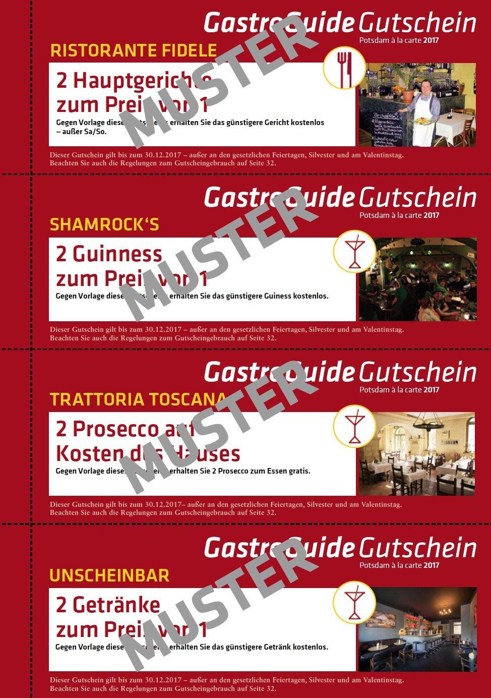 EVENTS GastroGuide 2017 Für Potsdam Und Umgebung / 34 Gutscheine Ab Sofort  Gültig Bis 30.12.2017: Amazon.de: SEIPT.MEDIA: Bücher