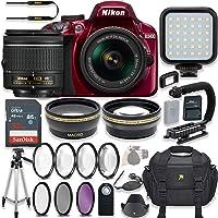 Nikon D3400 24.2 MP DSLR Camera (Red) Video Kit with AF-P DX NIKKOR 18-55mm f/3.5-5.6G VR Lens + LED Light + 32GB Memory + Filters + Macros + Deluxe Bag + Professional Accessories