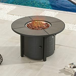 """LOKATSE HOME 42"""" Dia Propane Gas Fire Pit Table Outdoor with Cover 50,000 BTU Auto-Ignition Natural Slate Tile Tabletop Sturdy Powder Coated Steel Base Bronze Frame Include Lava Rock, 42inch"""