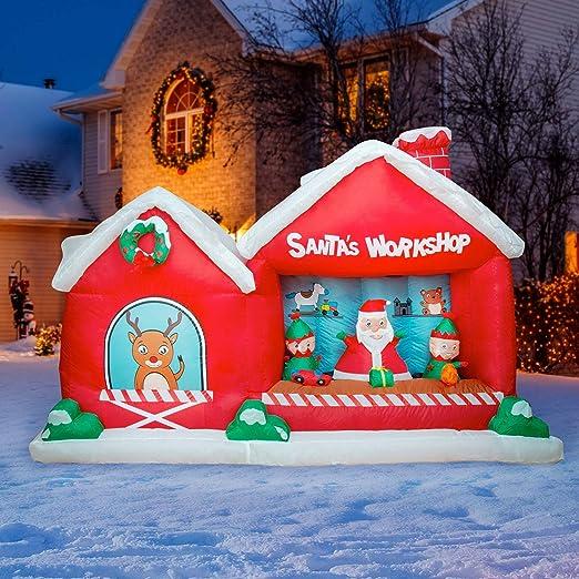 Amazon.com: Holidayana 8 pies inflable Navidad Santa taller ...