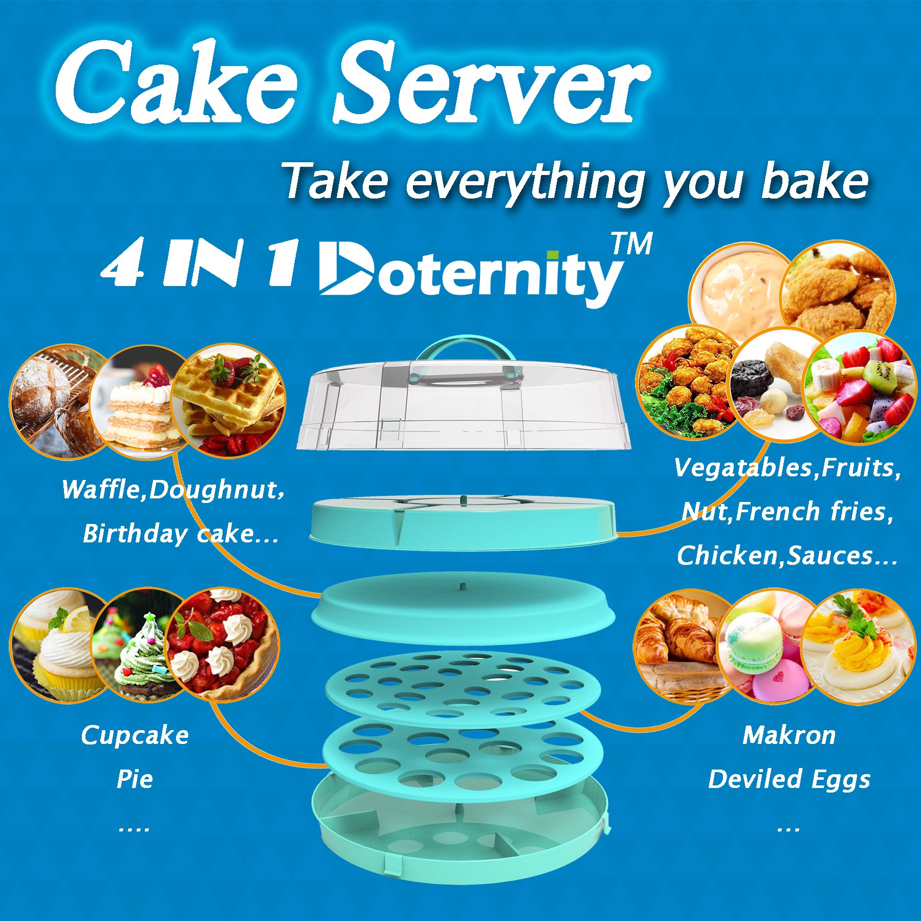 4-in-1 Cake Carrier - kitchen safe locking container - cupcake caddy - cake plate with dome - dessert tray and cover - Locking lid pies container bundt cake holder by DOTERNITY (Image #2)