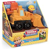 Tonka Mighty Builders Construction Site Play Set | 15-piece Front Loader Vehicle, Character & Blocks - Portable Storage, Easy Cleanup, Safe, Fun, Bright Colors | Children Imagination Creative Toys