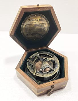 Gilbert & Sons London Brújula de navegación de latón con caja de madera, estilo antiguo náutico redondo: Amazon.es: Deportes y aire libre