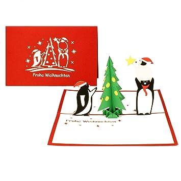 Tannenbaum Lustig.Weihnachtskarte Pinguine Tannenbaum Lustige 3d Pop Up Karte Zu Weihnachten