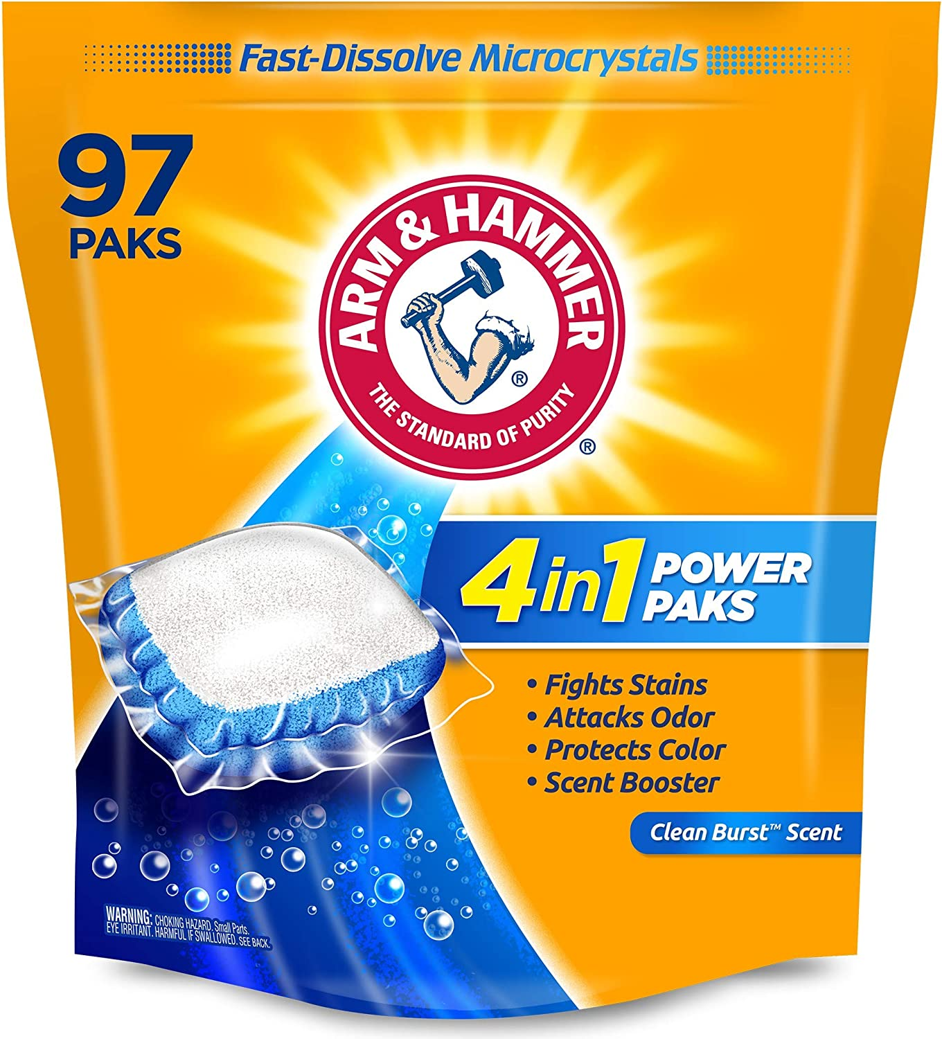 Arm & hammer 4-in-1 Laundry Detergent Power Paks, 97 Count (Packaging may vary): Health & Personal Care