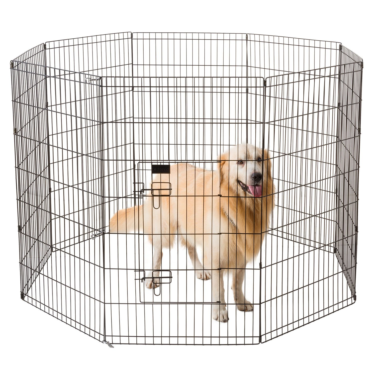 Ollieroo Dog Playpen Exercise Pen Cat Fence Pet Outdoor Indoor Cage 8 Panel Black E-coat Small (24'' W x 42'' H)