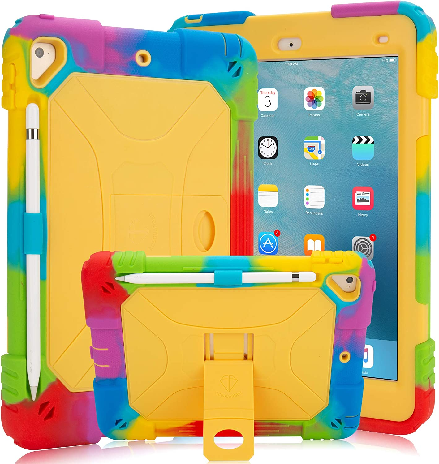 New iPad 9.7 2018/2017 Case iPad 6th/5th Generation Case iPad Air 2 Case with Pencil Holder and Kickstand Heavy Duty Hybrid Shockproof Kids Case Cover for Apple iPad 9.7 inch/Air 2 (Rainbow Yellow)