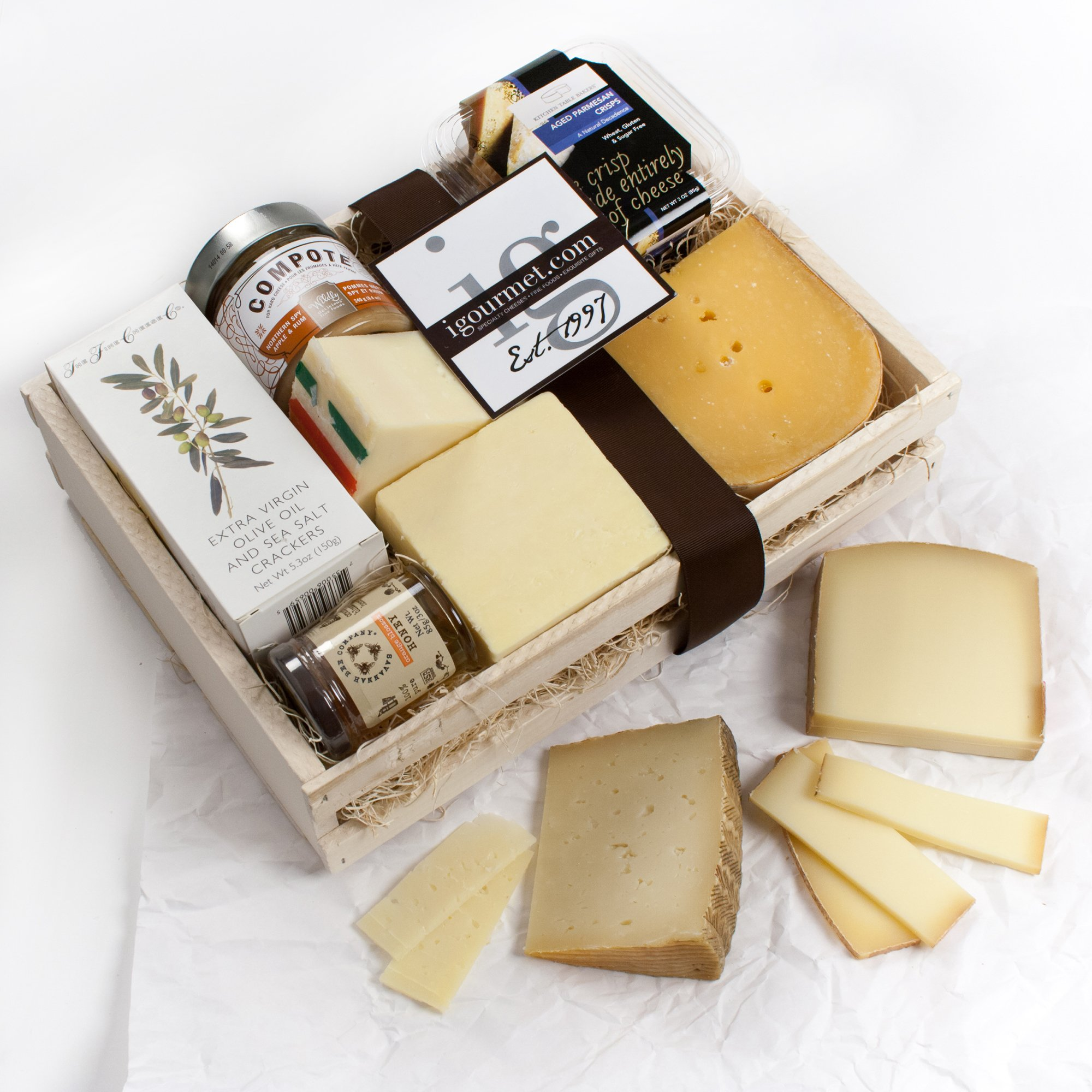 KaBloom Gift Basket Collection: The Extra Sharp Aged Cheese Gift Crate