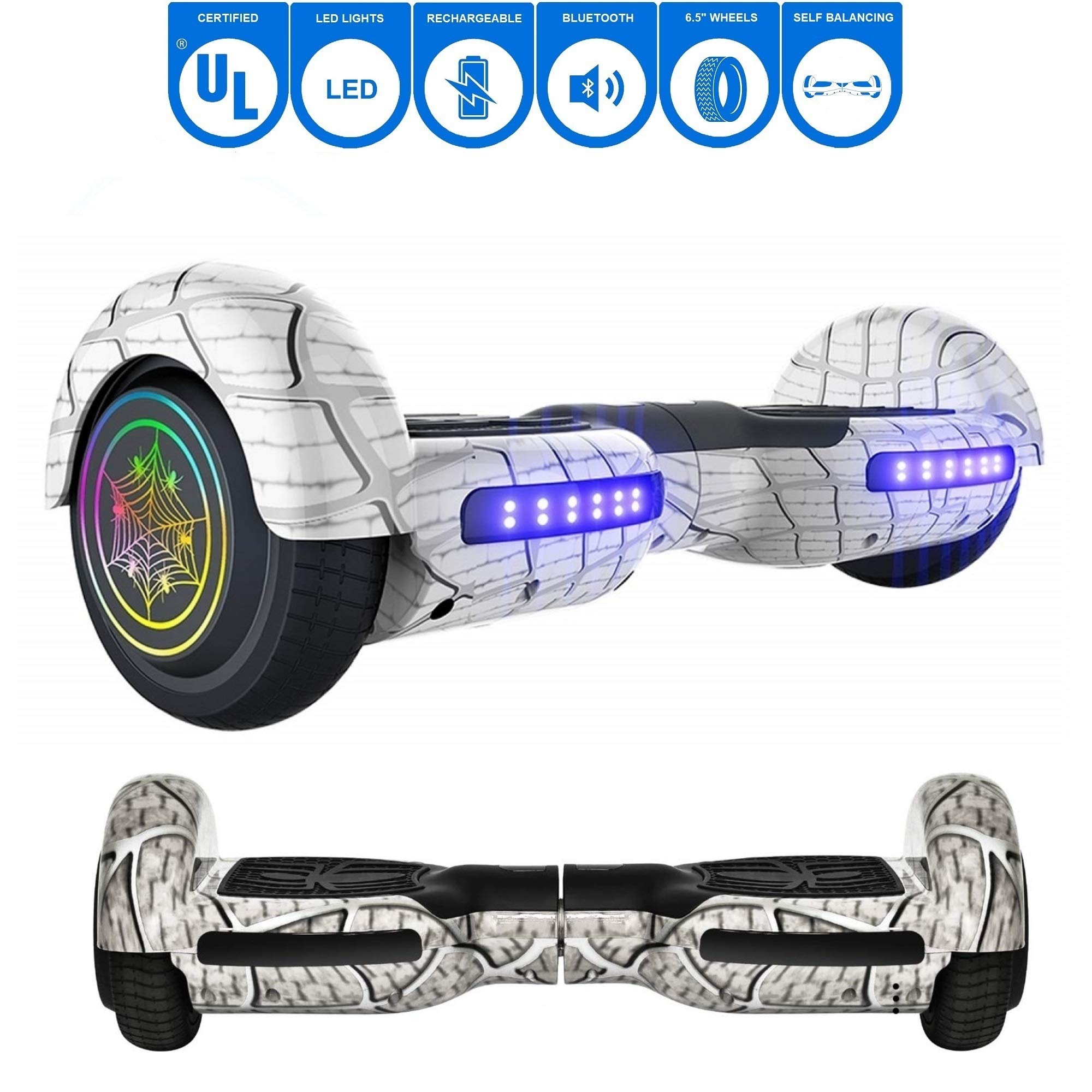 NHT 6.5'' inch Aurora Hoverboard Self Balancing Scooter with Colorful LED Wheels and Lights - UL2272 Certified Carbon Fiber/Spider/Built-in Bluetooth Speaker Available (Spider White)