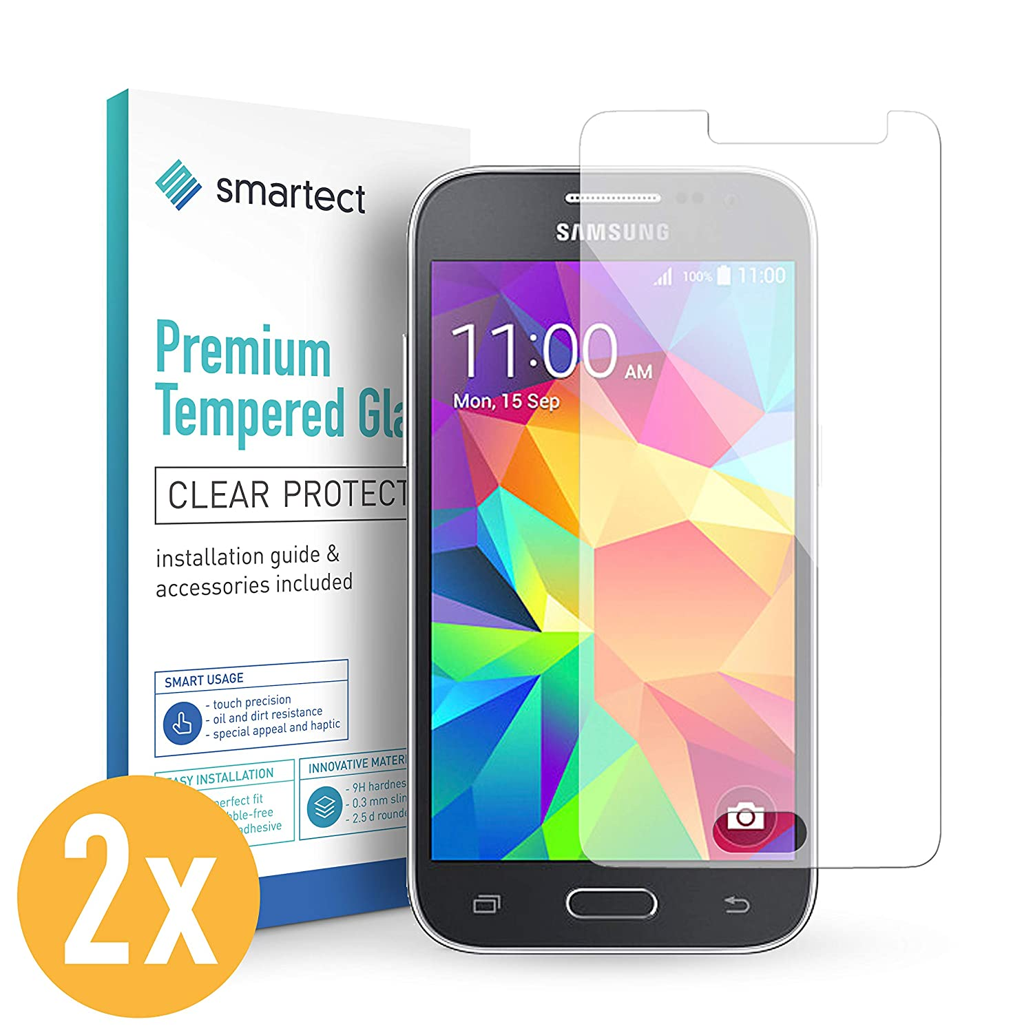 01972084a50 smartect Glass Screen Protector for Samsung Galaxy Grand Prime [2 Pack] -  9H Tempered Glass - Ultra-Thin Design - Bubble-Free Installation - Anti- ...