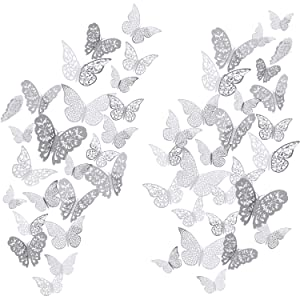 Bememo 72 Pieces 3D Butterfly Wall Decals Sticker Wall Decal Decor Art Decorations Sticker Set 3 Sizes for Room Home Nursery Classroom Offices Kids Girl Boy Bedroom Bathroom Living Room Decor (Silver)
