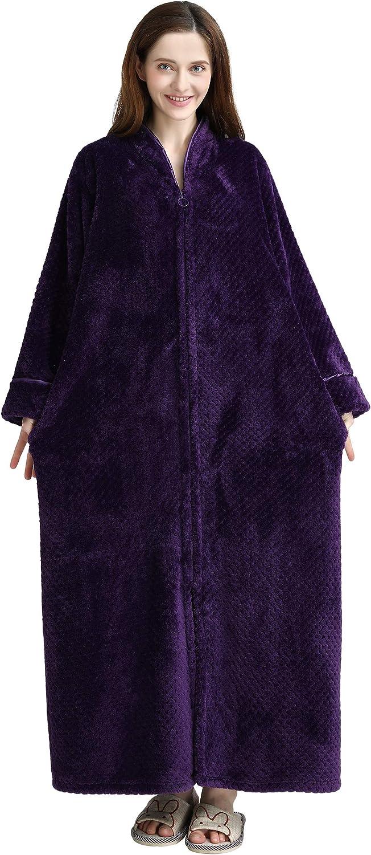 Westkun Albornoz de Salón Blusa con Cremallera Unisex Longitud Completa Otoño Invierno Fleece Mujer y Hombre Batas Elegantes Vintage Cómodo Abrigos Bata