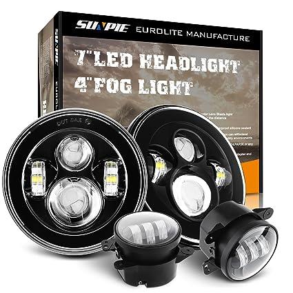 Jeep Jk Headlights >> Amazon Com Round 7 Led Headlights 4 Led Fog Lights For Jeep