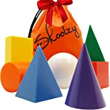 7 Jumbo Geometric Solids 3D Geometry Math Manipulatives Shapes Set by Skoolzy - Montessori Materials Occupational Therapy Autism Elementary Classroom Supplies Geosolids Models Replicas